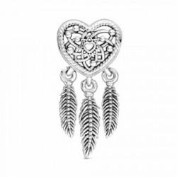 Charm Pandora en plata de ley Atrapasueños Corazón en filigrana y plumas - 799107C00