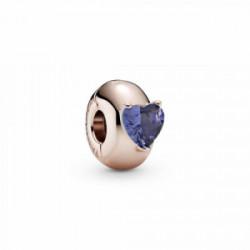 Pandora Clip Rose Corazón Solitario Azul - 789203C02