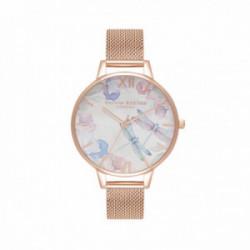 Olivia Burton Reloj Dragonfly De Malla Fina En Oro Rosa - OB16PP83